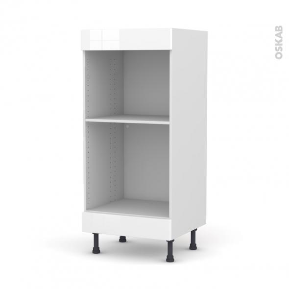 Colonne de cuisine N°3 - Four+MO encastrable niche 45 - IPOMA Blanc brillant - L60 x H125 x P58 cm