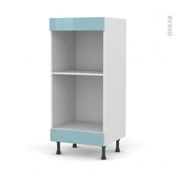 Colonne de cuisine N°3 - Four+MO encastrable niche 45 - KERIA Bleu - L60 x H125 x P58 cm