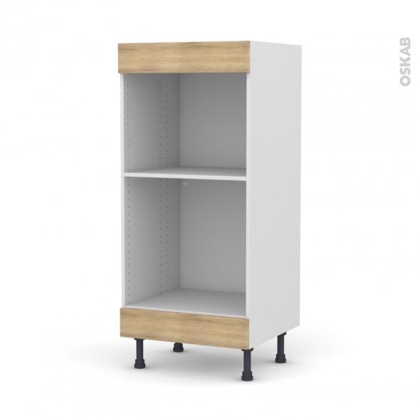 Colonne de cuisine N°3 - Four+MO encastrable niche 45 - HOSTA Chêne naturel - L60 x H125 x P58 cm