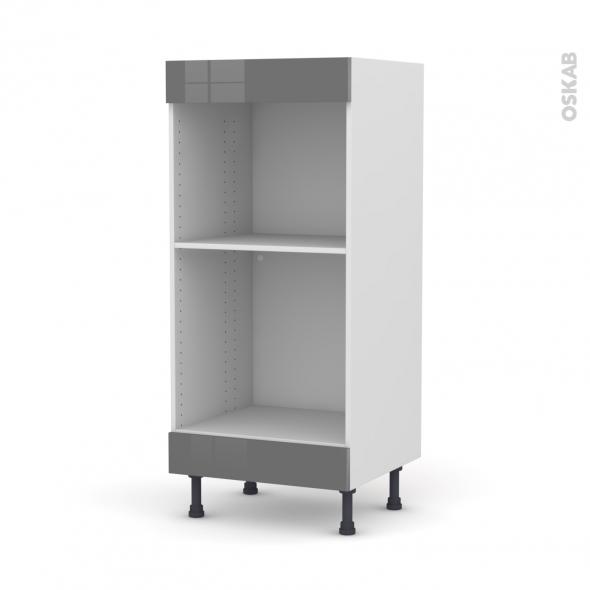 Colonne de cuisine N°3 - Four+MO encastrable niche 45 - STECIA Gris - L60 x H125 x P58 cm
