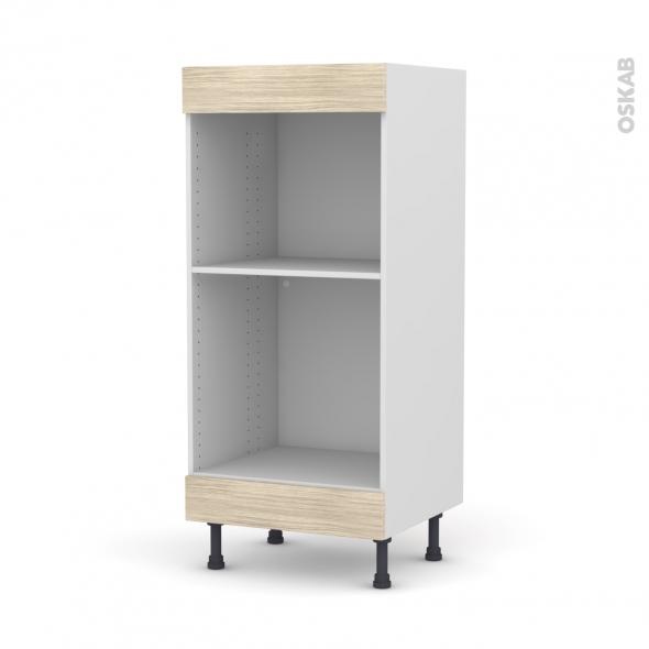 Colonne de cuisine N°3 - Four+MO encastrable niche 45 - STILO Noyer Blanchi - L60 x H125 x P58 cm