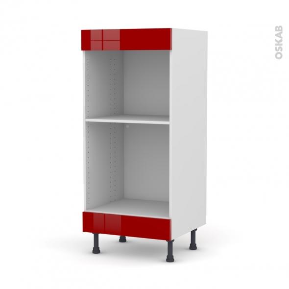 Colonne de cuisine N°3 - Four+MO encastrable niche 45 - STECIA Rouge - L60 x H125 x P58 cm