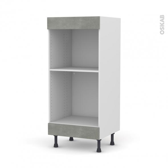 Colonne de cuisine N°3 - Four+MO encastrable niche 45 - FAKTO Béton - L60 x H125 x P58 cm
