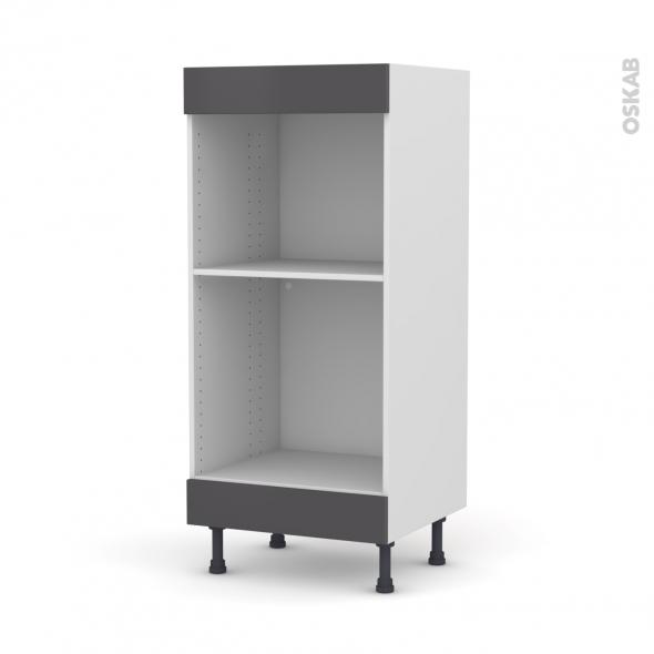 Colonne de cuisine N°3 - Four+MO encastrable niche 45 - GINKO Gris - L60 x H125 x P58 cm