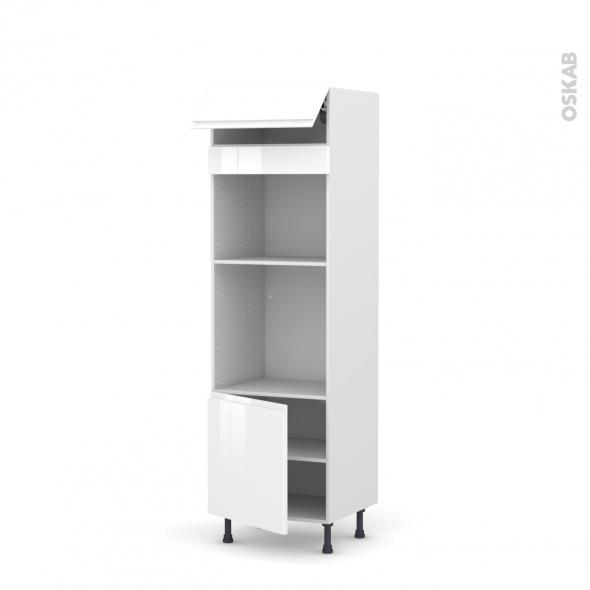 Colonne de cuisine N°516 - Four+MO encastrable niche 45 - IPOMA Blanc brillant - 1 abattant 1 porte - L60 x H195 x P58 cm