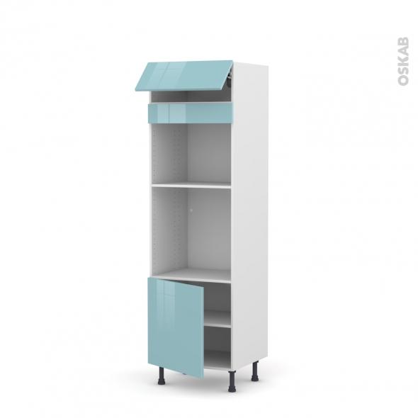 Colonne de cuisine N°516 - Four+MO encastrable niche 45 - KERIA Bleu - 1 abattant 1 porte - L60 x H195 x P58 cm