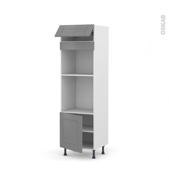 Colonne de cuisine N°516 - Four+MO encastrable niche 45 - FILIPEN Gris - 1 abattant 1 porte - L60 x H195 x P58 cm