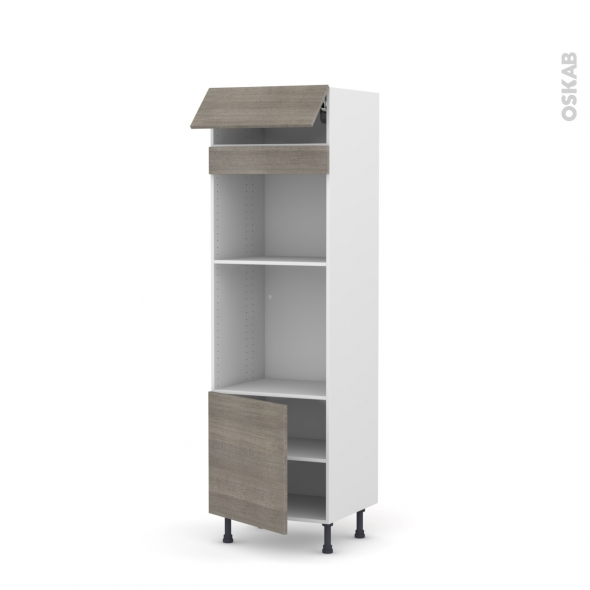 Colonne de cuisine N°516 - Four+MO encastrable niche 45 - STILO Noyer Naturel - 1 abattant 1 porte - L60 x H195 x P58 cm