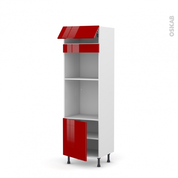 Colonne de cuisine N°516 - Four+MO encastrable niche 45 - STECIA Rouge - 1 abattant 1 porte - L60 x H195 x P58 cm