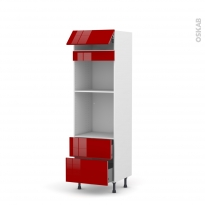 Colonne de cuisine N°558 - Four+MO encastrable niche 45 - STECIA Rouge - 1 abattant 2 casseroliers - L60 x H195 x P58 cm