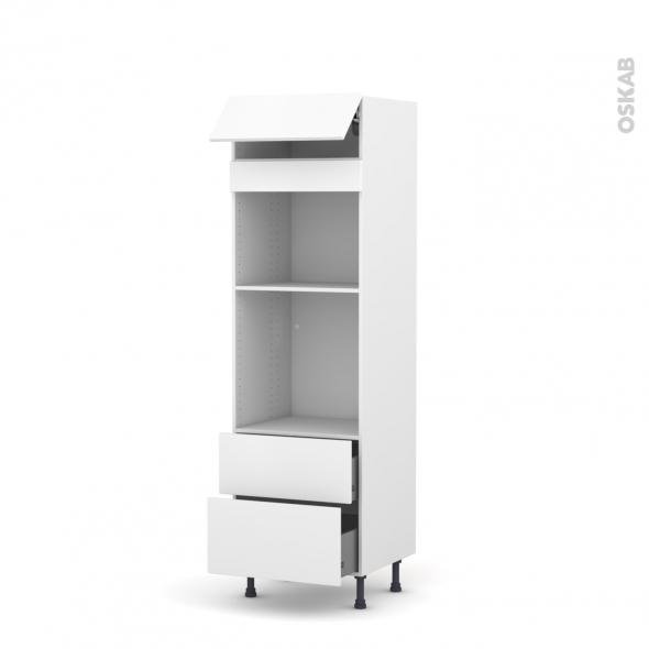 Colonne de cuisine N°558 - Four+MO encastrable niche 45 - GINKO Blanc - 1 abattant 2 casseroliers - L60 x H195 x P58 cm