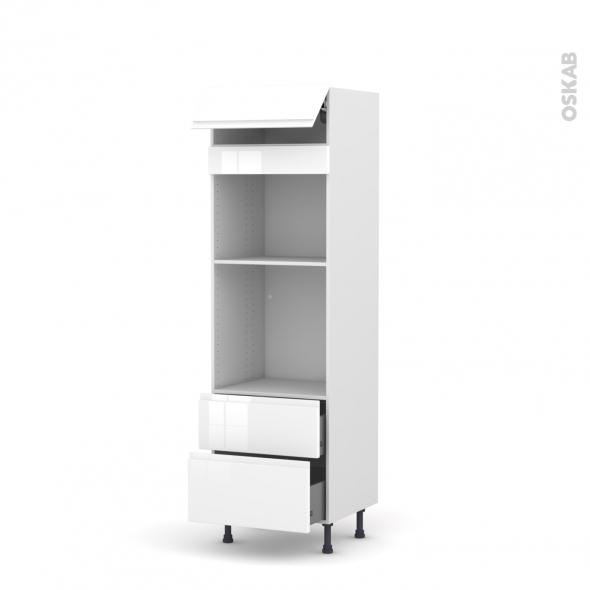 Colonne de cuisine N°558 - Four+MO encastrable niche 45 - IPOMA Blanc brillant - 1 abattant 2 casseroliers - L60 x H195 x P58 cm
