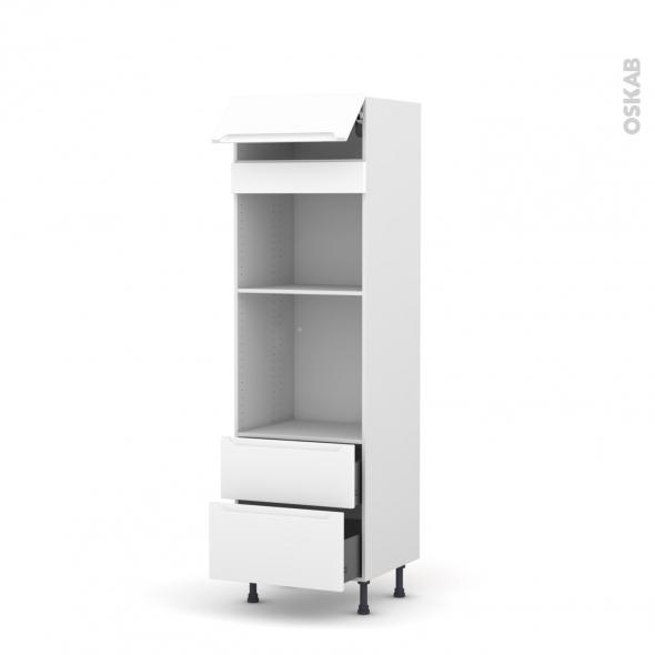 Colonne de cuisine N°558 - Four+MO encastrable niche 45 - PIMA Blanc - 1 abattant 2 casseroliers - L60 x H195 x P58 cm
