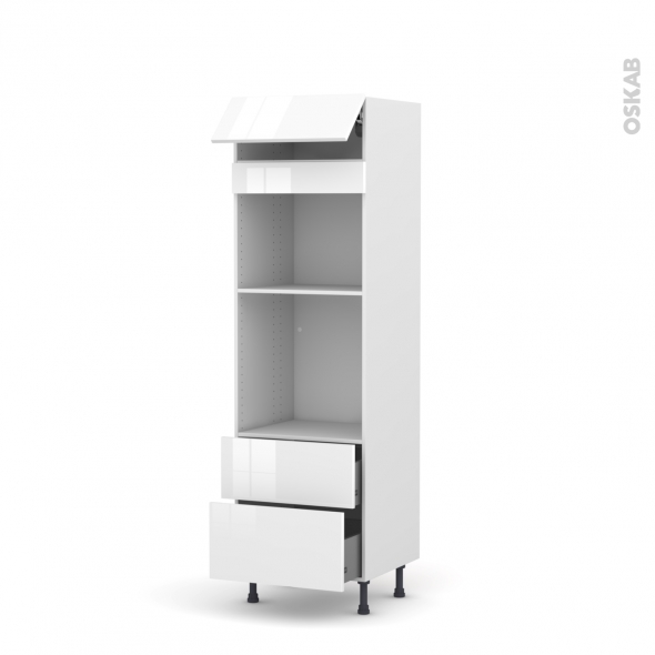 STECIA Blanc - Colonne Four+MO 45 N°558  - 1 abattant 2 casseroliers - L60xH195xP58