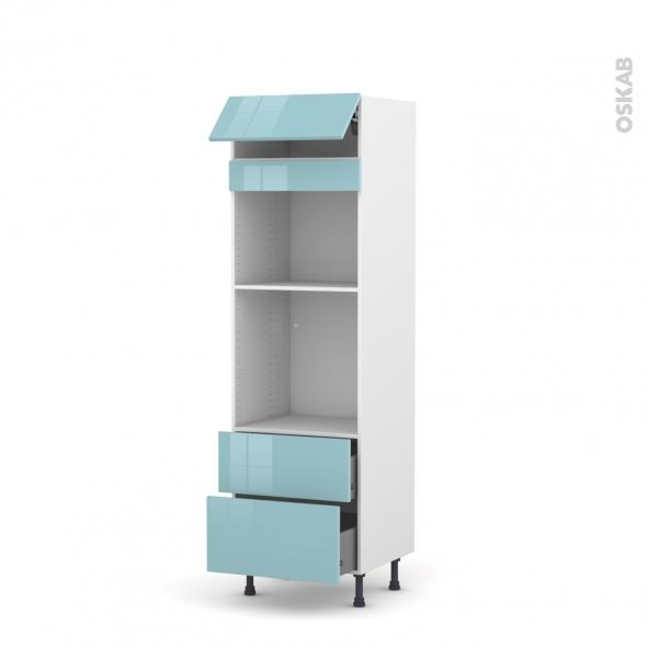 Colonne de cuisine N°558 - Four+MO encastrable niche 45 - KERIA Bleu - 1 abattant 2 casseroliers - L60 x H195 x P58 cm