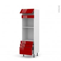 Colonne de cuisine N°559 - Four+MO encastrable niche 45 - STECIA Rouge - 1 abattant 3 tiroirs - L60 x H195 x P58 cm