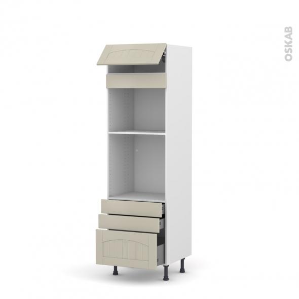 SILEN Argile - Colonne Four+MO 45 N°559  - 1 abattant 3 tiroirs - L60xH195xP58