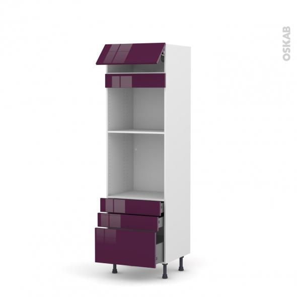Colonne de cuisine N°559 - Four+MO encastrable niche 45 - KERIA Aubergine - 1 abattant 3 tiroirs - L60 x H195 x P58 cm