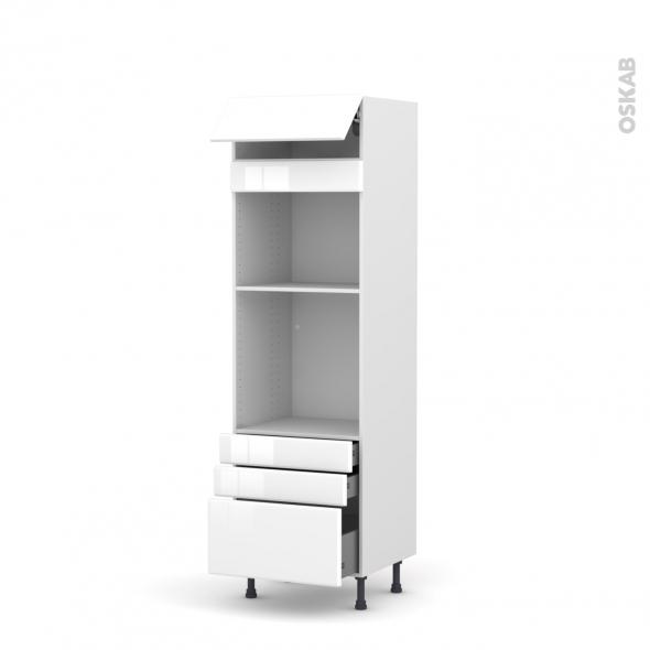Colonne de cuisine N°559 - Four+MO encastrable niche 45 - IRIS Blanc - 1 abattant 3 tiroirs - L60 x H195 x P58 cm