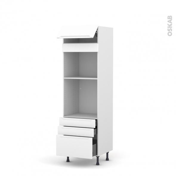 Colonne de cuisine N°559 - Four+MO encastrable niche 45 - PIMA Blanc - 1 abattant 3 tiroirs - L60 x H195 x P58 cm
