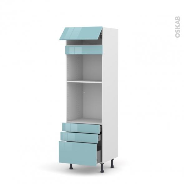 Colonne de cuisine N°559 - Four+MO encastrable niche 45 - KERIA Bleu - 1 abattant 3 tiroirs - L60 x H195 x P58 cm