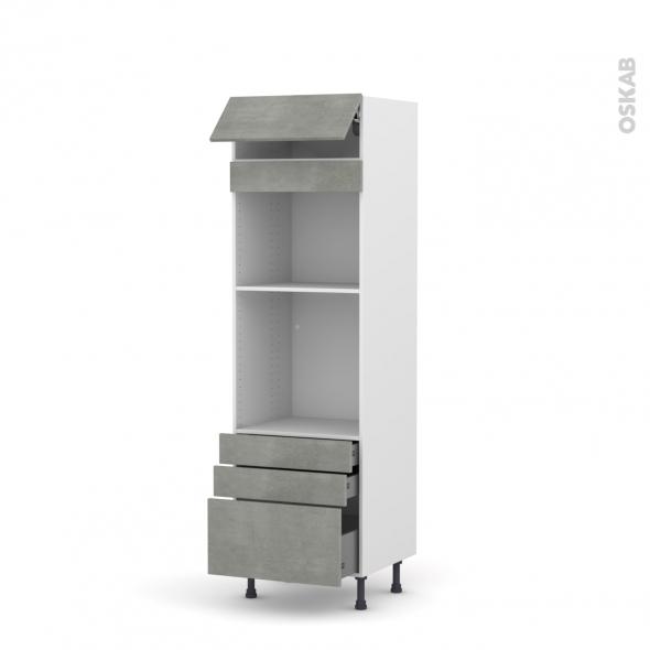 Colonne de cuisine N°559 - Four+MO encastrable niche 45 - FAKTO Béton - 1 abattant 3 tiroirs - L60 x H195 x P58 cm