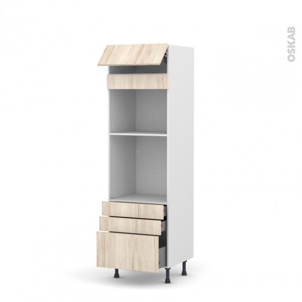 Colonne de cuisine N°559 - Four+MO encastrable niche 45 - IKORO Chêne clair - 1 abattant 3 tiroirs - L60 x H195 x P58 cm