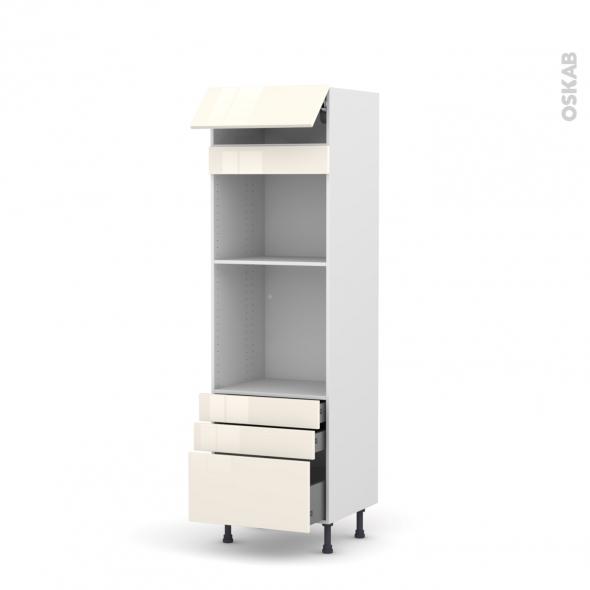 Colonne de cuisine N°559 - Four+MO encastrable niche 45 - KERIA Ivoire - 1 abattant 3 tiroirs - L60 x H195 x P58 cm