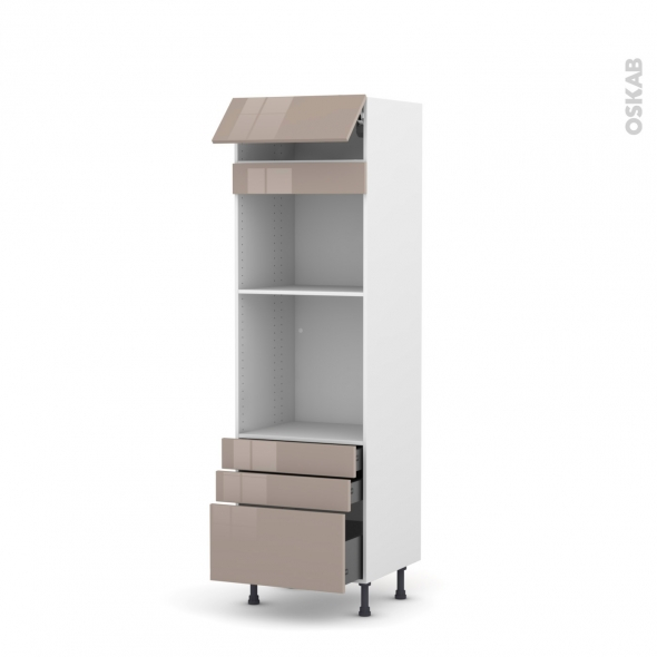 Colonne de cuisine N°559 - Four+MO encastrable niche 45 - KERIA Moka - 1 abattant 3 tiroirs - L60 x H195 x P58 cm
