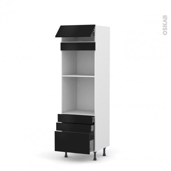 GINKO Noir - Colonne Four+MO 45 N°559  - 1 abattant 3 tiroirs - L60xH195xP58