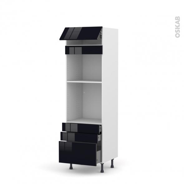 KERIA Noir - Colonne Four+MO 45 N°559  - 1 abattant 3 tiroirs - L60xH195xP58
