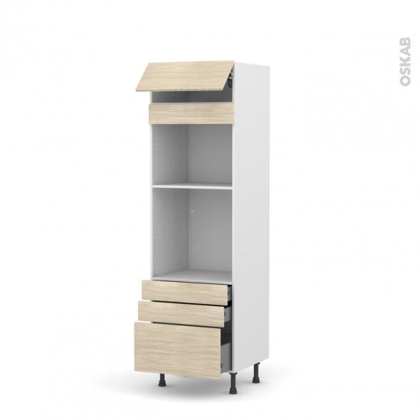 Colonne de cuisine N°559 - Four+MO encastrable niche 45 - STILO Noyer Blanchi - 1 abattant 3 tiroirs - L60 x H195 x P58 cm