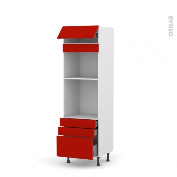 GINKO Rouge - Colonne Four+MO 45 N°559  - 1 abattant 3 tiroirs - L60xH195xP58