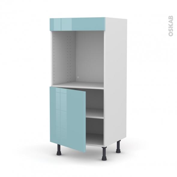 Colonne de cuisine N°16 - Four encastrable niche 60 - KERIA Bleu - 1 porte - L60 x H125 x P58 cm