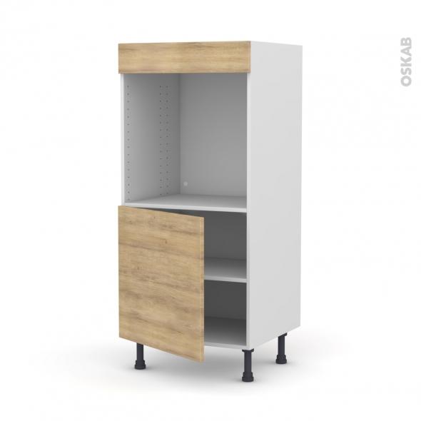 Colonne de cuisine N°16 - Four encastrable niche 60 - HOSTA Chêne naturel - 1 porte - L60 x H125 x P58 cm