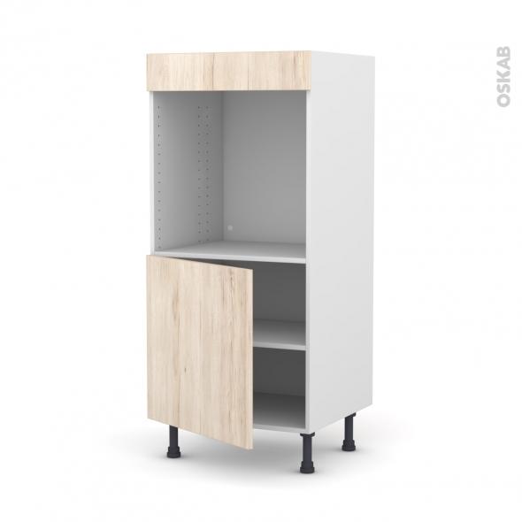 Colonne de cuisine N°16 - Four encastrable niche 60 - IKORO Chêne clair - 1 porte - L60 x H125 x P58 cm