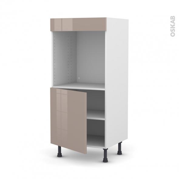 Colonne de cuisine N°16 - Four encastrable niche 60 - KERIA Moka - 1 porte - L60 x H125 x P58 cm
