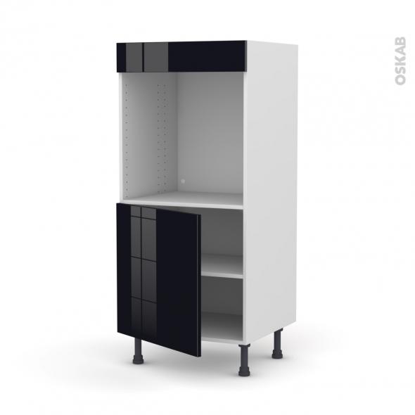 Colonne de cuisine N°16 - Four encastrable niche 60 - KERIA Noir - 1 porte - L60 x H125 x P58 cm