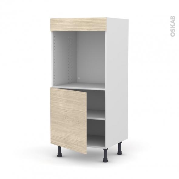 Colonne de cuisine N°16 - Four encastrable niche 60 - STILO Noyer Blanchi - 1 porte - L60 x H125 x P58 cm
