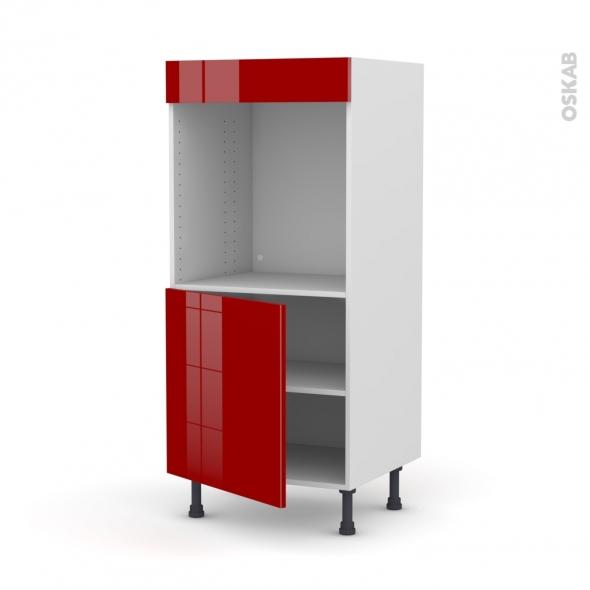 Colonne de cuisine N°16 - Four encastrable niche 60 - STECIA Rouge - 1 porte - L60 x H125 x P58 cm
