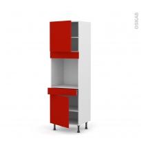 GINKO Rouge - Colonne Four N°1616  - 2 portes 1 tiroir - L60xH195xP58