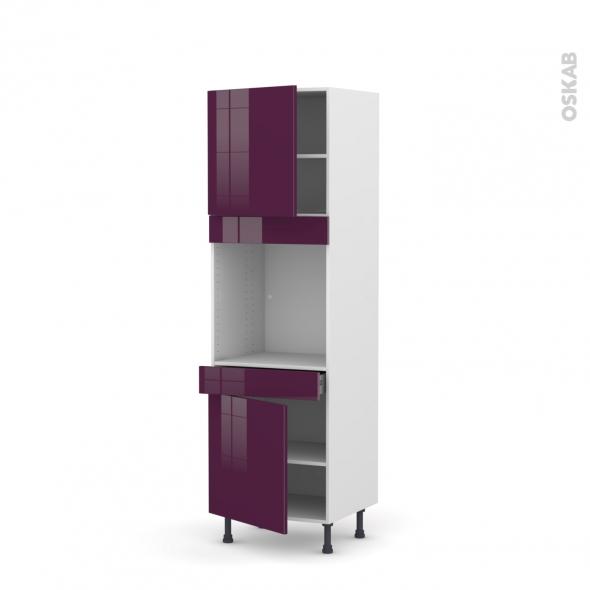 Colonne de cuisine N°1616 - Four encastrable niche 60 - KERIA Aubergine - 2 portes 1 tiroir - L60 x H195 x P58 cm
