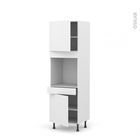 GINKO Blanc - Colonne Four N°1616  - 2 portes 1 tiroir - L60xH195xP58