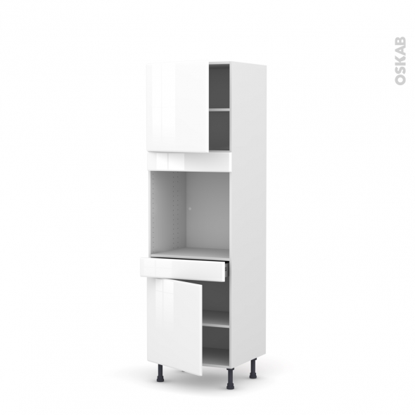 Colonne de cuisine N°1616 - Four encastrable niche 60 - IRIS Blanc - 2 portes 1 tiroir - L60 x H195 x P58 cm