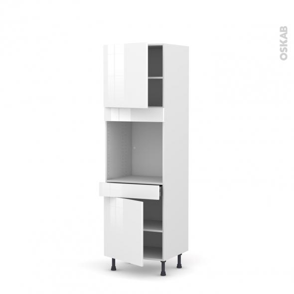 Colonne de cuisine N°1616 - Four encastrable niche 60 - STECIA Blanc - 2 portes 1 tiroir - L60 x H195 x P58 cm