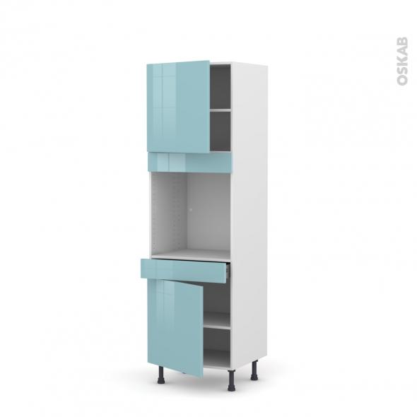Colonne de cuisine N°1616 - Four encastrable niche 60 - KERIA Bleu - 2 portes 1 tiroir - L60 x H195 x P58 cm