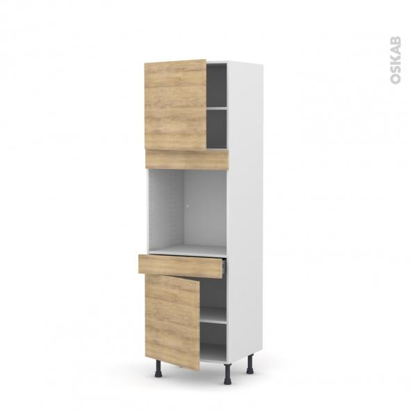 Colonne de cuisine N°1616 - Four encastrable niche 60 - HOSTA Chêne naturel - 2 portes 1 tiroir - L60 x H195 x P58 cm
