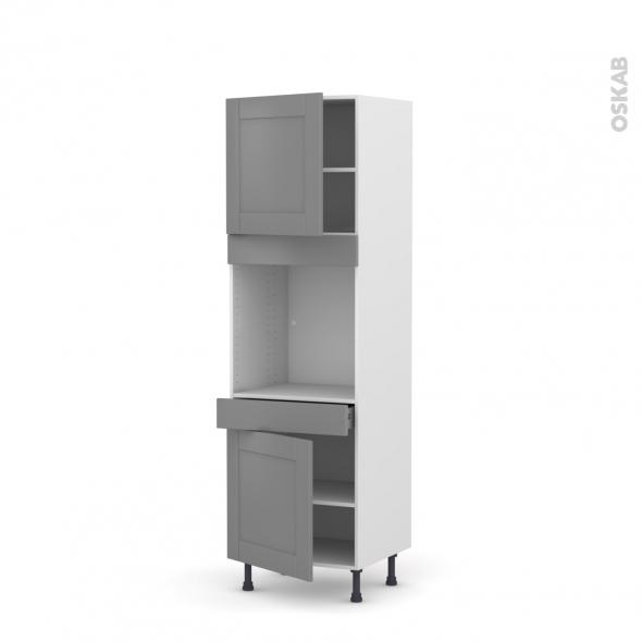 Colonne de cuisine N°1616 - Four encastrable niche 60 - FILIPEN Gris - 2 portes 1 tiroir - L60 x H195 x P58 cm