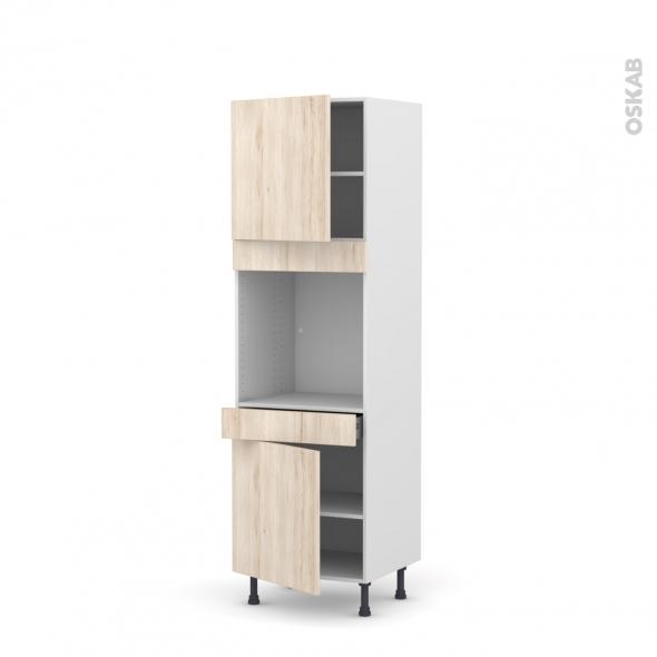 Colonne de cuisine N°1616 - Four encastrable niche 60 - IKORO Chêne clair - 2 portes 1 tiroir - L60 x H195 x P58 cm