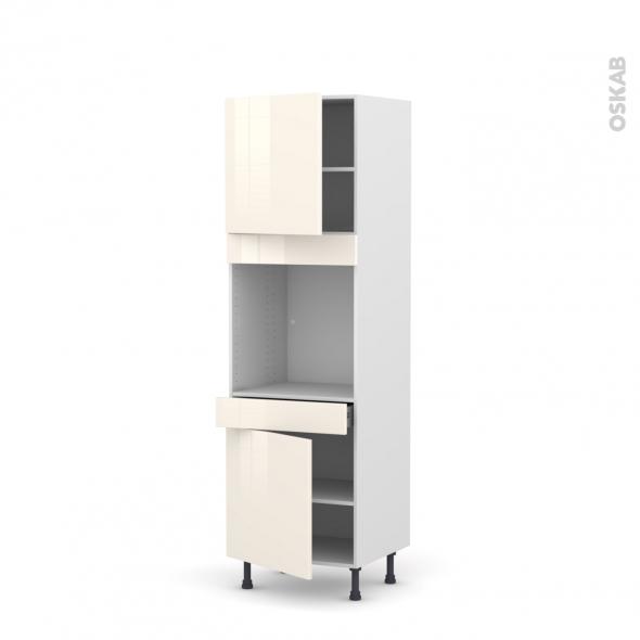 Colonne de cuisine N°1616 - Four encastrable niche 60 - KERIA Ivoire - 2 portes 1 tiroir - L60 x H195 x P58 cm
